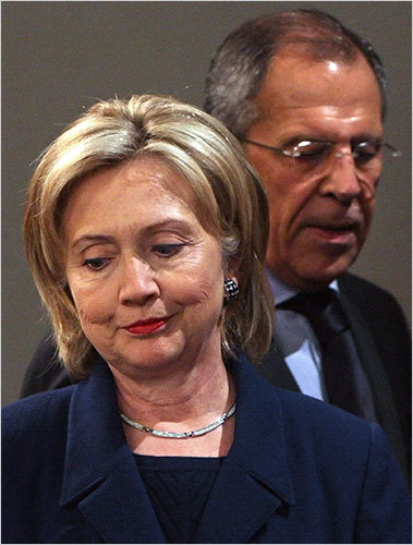Secretary of State Hillary Rodham Clinton met with her Russian counterpart, Sergei Lavrov, in Moscow on Tuesday