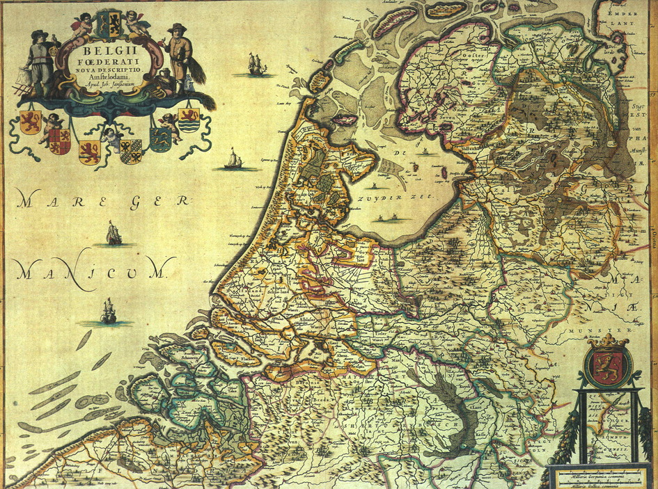 Map of the Netherlands 1658. St. Lucia's Flood occurred when storms caused flooding in the inland Zuiderzee.