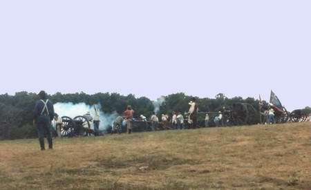 Reenactment of a Civil War Battle at Cole Camp