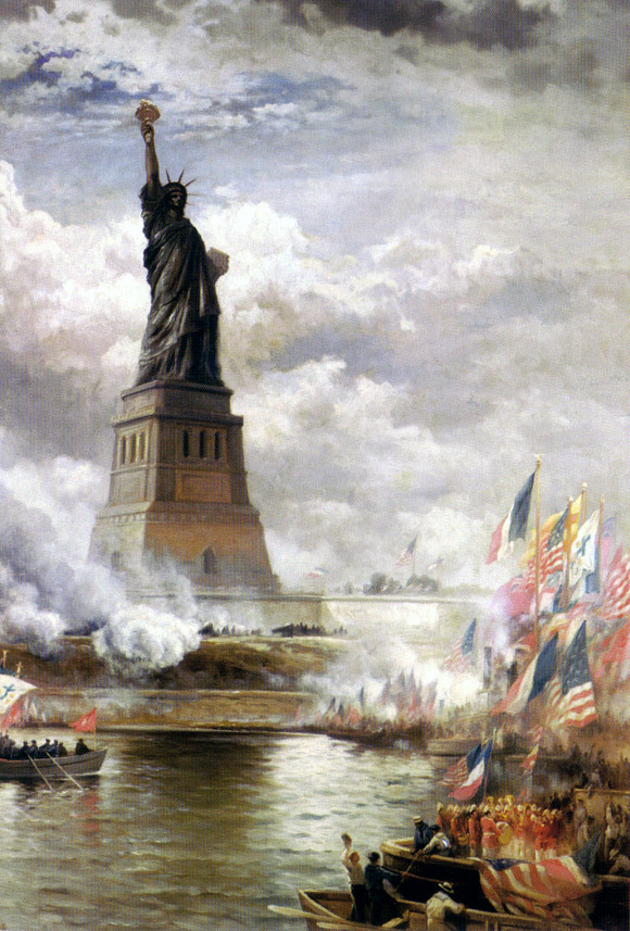 Unveiling of the Statue of Liberty Enlightening the World (1886) by Edward Moran. Oil on canvas.
