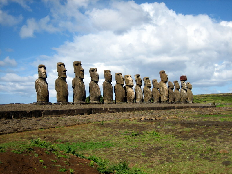 These moai were restored in the 1990's by a Japanese research team after a cyclone knocked them over in the 1960's.