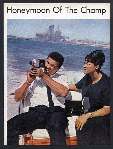 1967 Cassius Clay (Muammad Ali)and his 2nd wife Belinda Boyd who changed her name to Khalilah Ali, shown on their Honeymoon, they were married August 17,1967, they were divorced during the Summer of 1977.