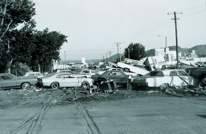Aftermath of the flash flood of June 9-10, 1972, Rapid City, South Dakota.