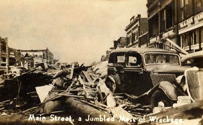 Main Street in Pryor, Oklahoma after the 1942 tornado