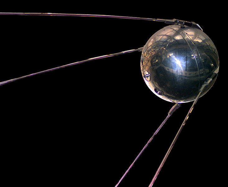 A replica of Sputnik 1, the first artificial satellite in the world to be put into outer space: the replica is stored in the National Air and Space Museum.