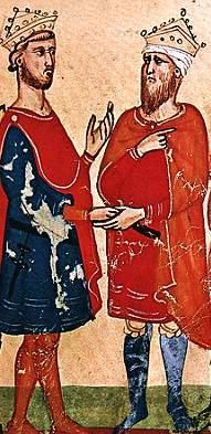 Frederick II (left) meets al-Kamil (right).