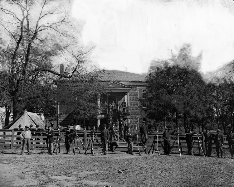 Appomattox Court House, Va. Federal soldiers at courthouse, April 1865