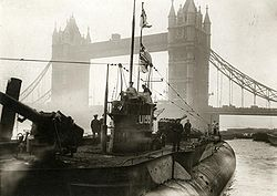 First U-boat of the German fleet surrendering near Tower Bridge, London, 1918.