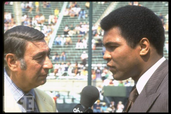 1979: Boxing champion Muhammad Ali and sportscaster Howard Cosell.