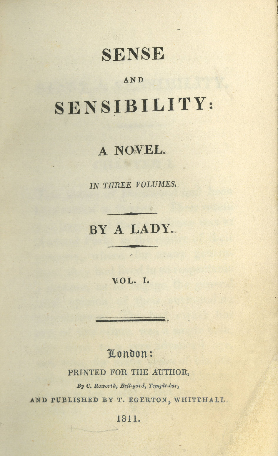 Title page from the first edition of Jane Austen's novel Sense and Sensibility